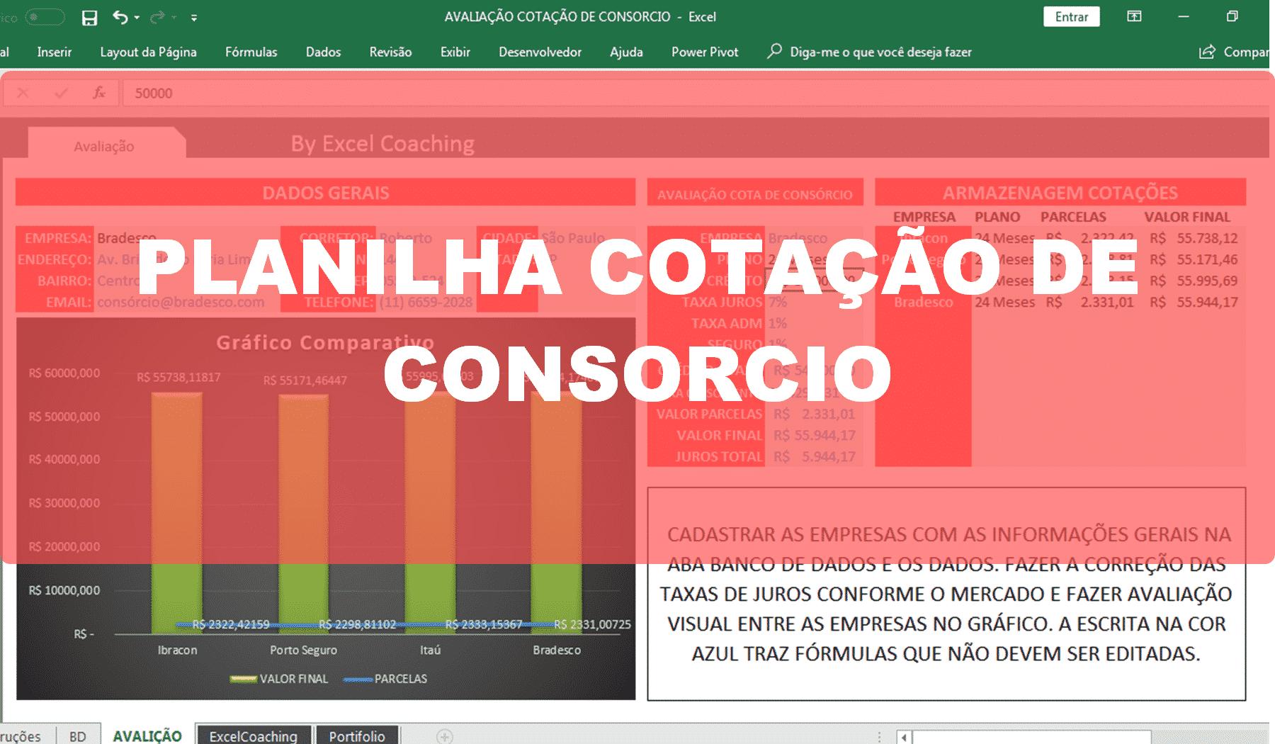Planilha Cotação de Consorcio