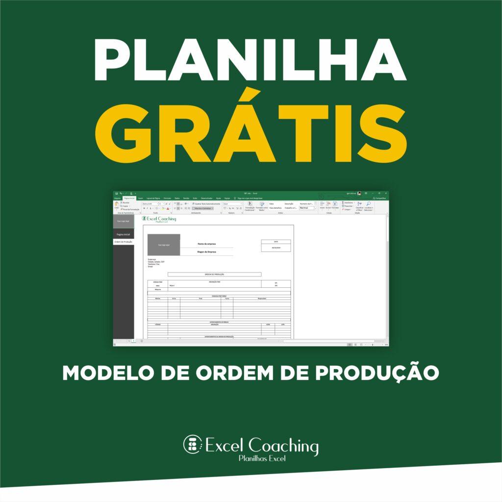 Planilha Modelo de Ordem de Produção Grátis
