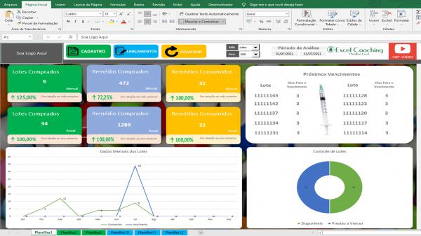 Planilha Controle de Medicamentos em Excel VBA 1